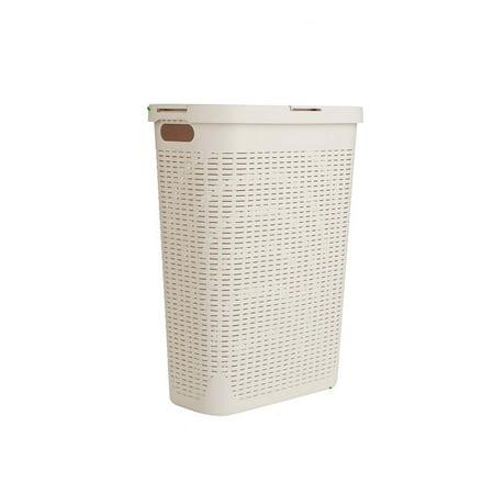 Mind Reader 40 Liter Slim Laundry Basket, Laundry Hamper with Cutout Handles, Washing Bin, Dirty Clothes Storage, Bathroom, Bedroom, Closet, Ivory