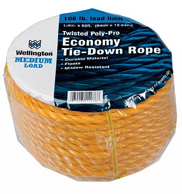Wellington Cordage 14976 1/4-Inch x 50-Ft. Yellow Polypropylene Rope