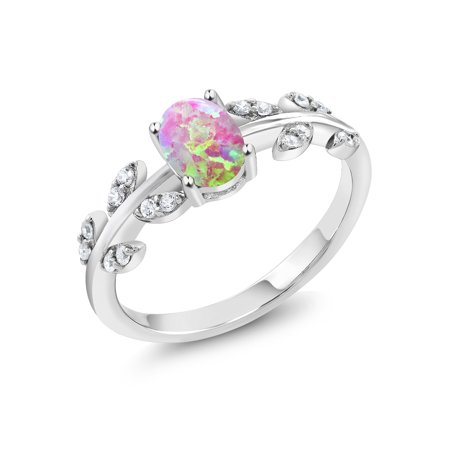 925 Sterling Silver 0.84Ct Oval Cabochon Pink Simulated Opal Solitaire Leaf Ring