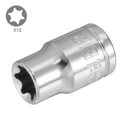 2Pcs 3/8-inch Drive E12 Torx Shallow Socket, Cr-V Steel