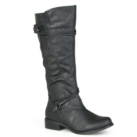 Womens Regular Sized and Wide-Calf Ankle-Strap Buckle Knee-High Riding Boot](Harley Flame Boots)