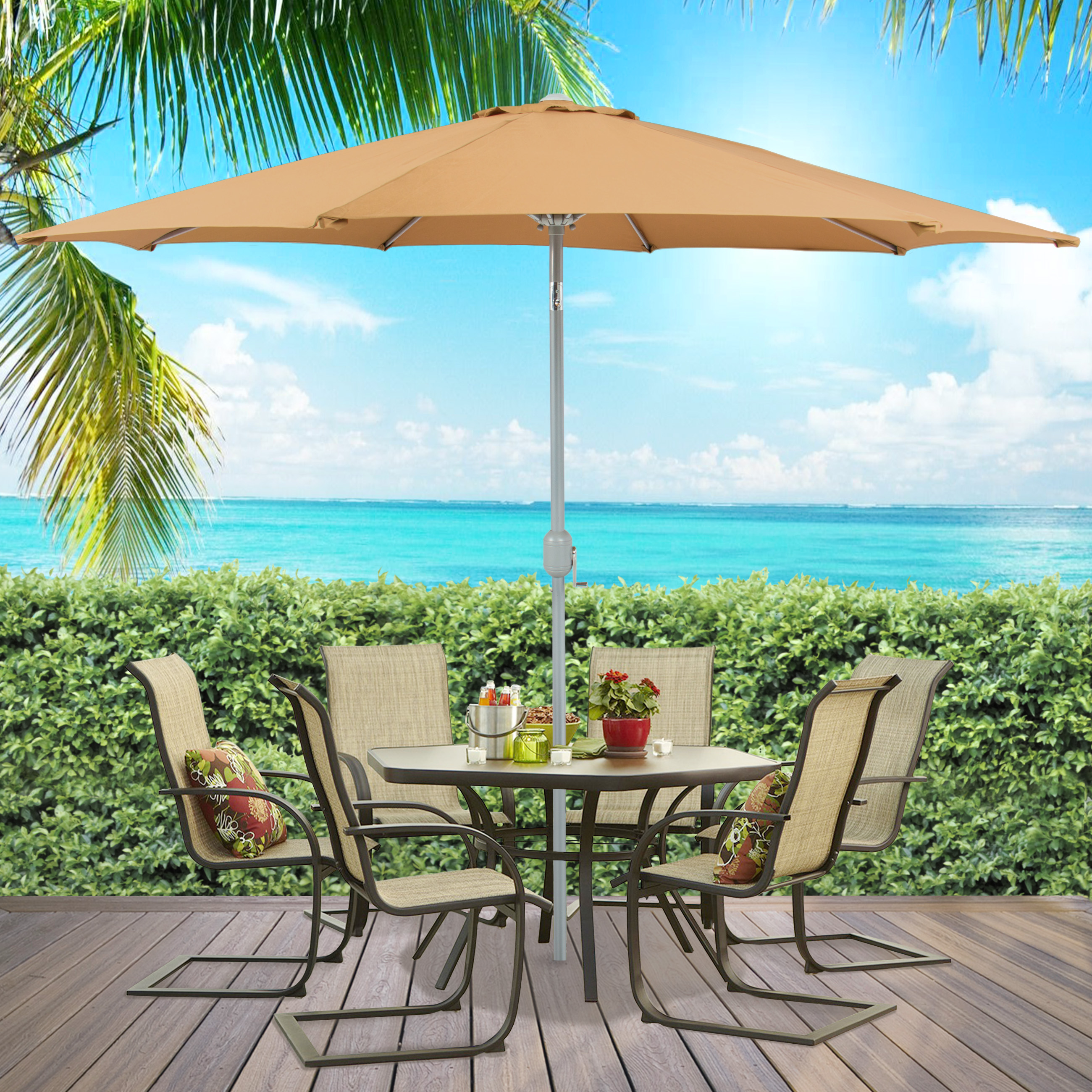BCP 9u0027 Aluminum Patio Market Umbrella Tilt W/ Crank Outdoor   Multiple  Colors   Walmart.com