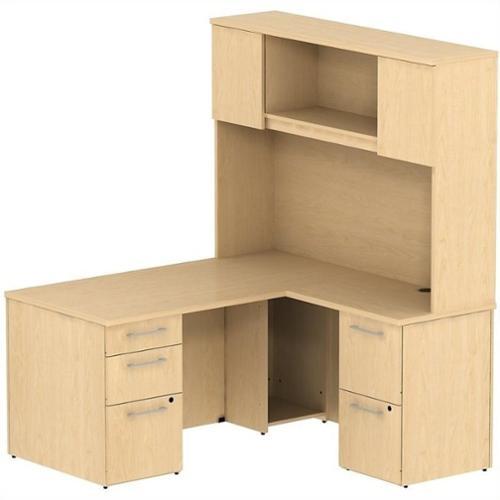 "Bush BBF 300 Series 60"" L-Shaped Desk with Hutch in Natural Maple"