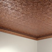 Fasade  Traditional Style #2 Cracked Copper 2 ft. x 4. ft Glue-up Ceiling Tile