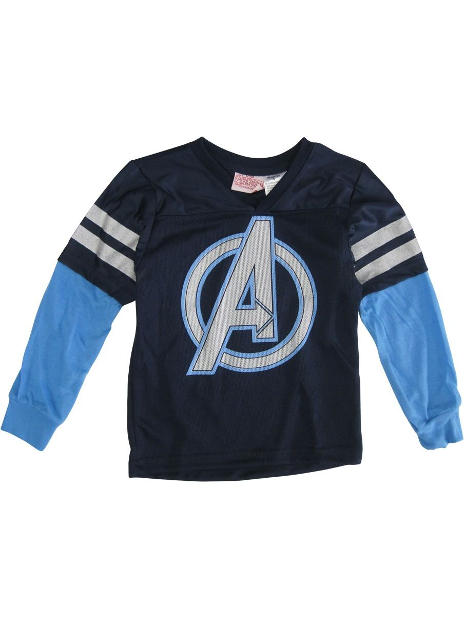 s Little Boys Navy Captain America Stripe Sleeve V-Neck Shirt 4T-7