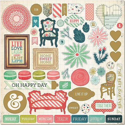 """Now and Then Mildred Chipboard, 12"""" x 12"""", Oh Happy Day"""