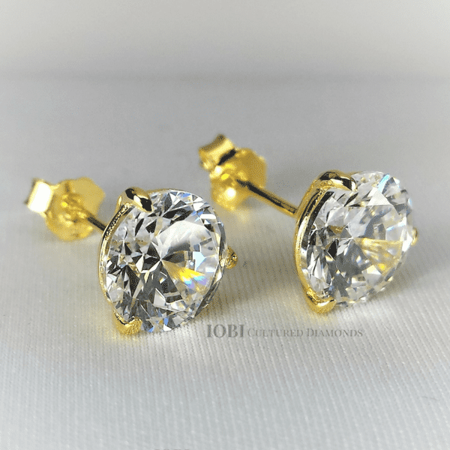White Gold Dora (ON SALE - Elite Dora Round Three Prong Yellow Gold IOBI Simulated Diamond Solitaire Stud Earrings .5)