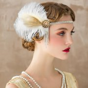 1920s Headband Feather Crystal Great Gatsby Headpiece for Cocktail Party Women's Fahsion