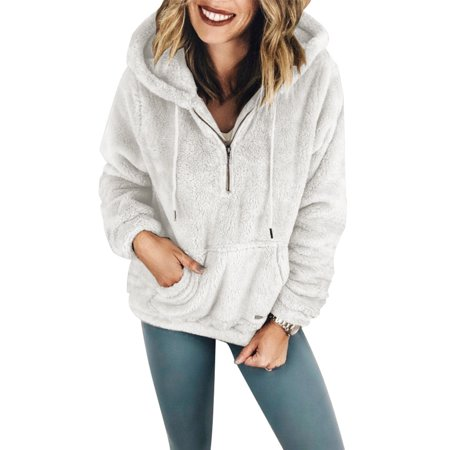 - New Autumn and Winter Women Pullover Coat Warm Long Sleeve Zipper Ladies Hooded Sweatshirts with Pockets (White_S)