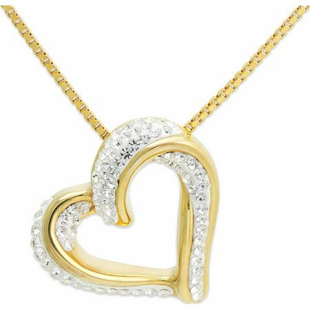 Crystal 18Kt Gold Over Sterling Silver Slide Heart Pendant  18