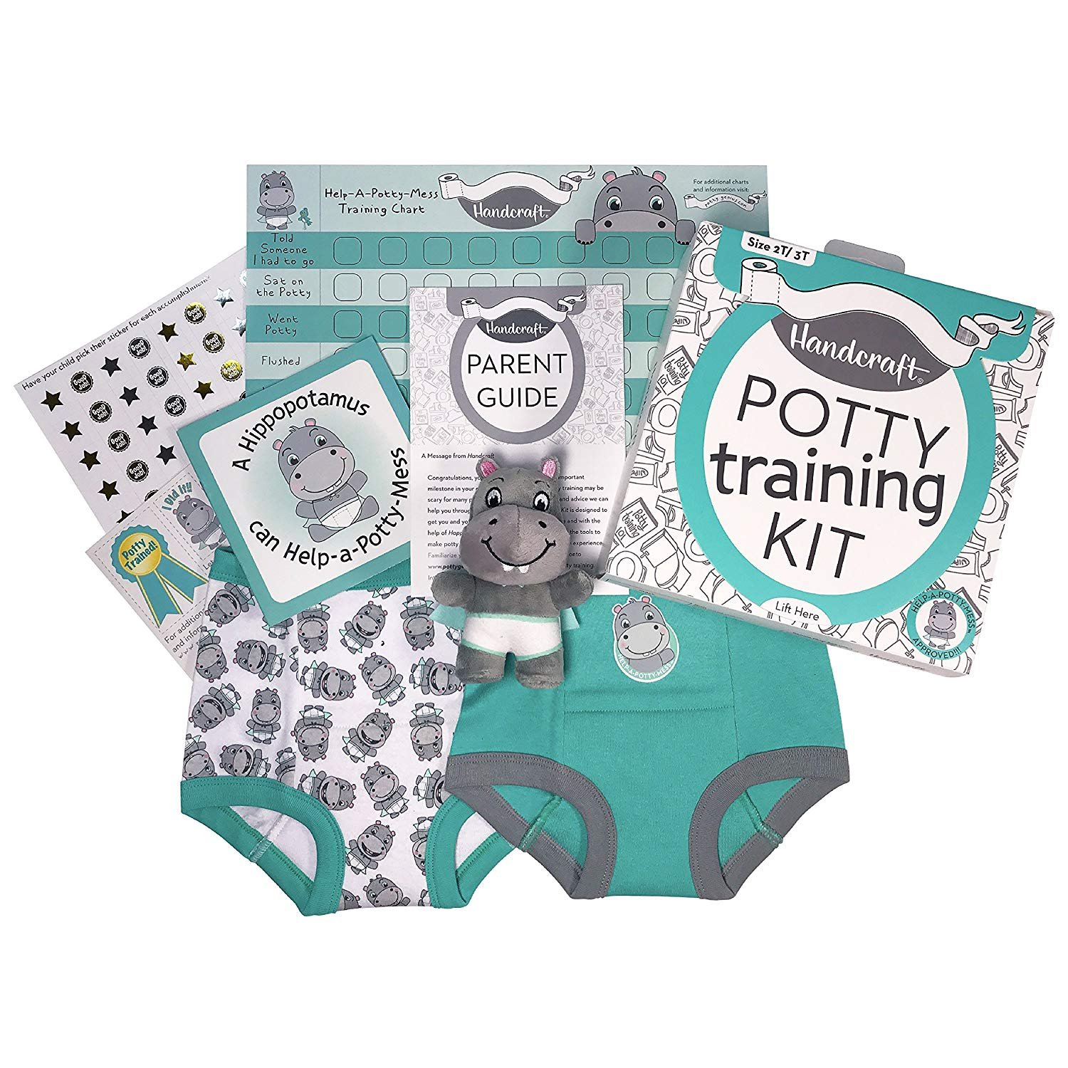 Handcraft Toddler Kids Potty Training Kit, Includes Parent Guide, Training Pants and More, Teal, Size 2T/3T