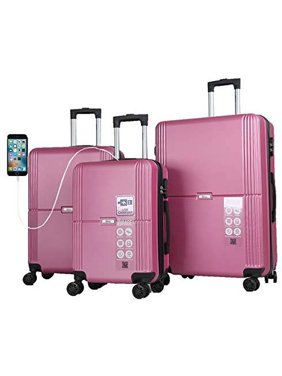 "Mirage Kingdom ABS Luggage Sets Hardside 360 Spinner Lightweight Durable Spinner Suitcase 20"" 24"" 28"", with Combination Lock and USB Port 3PCS Set (Magenta)"