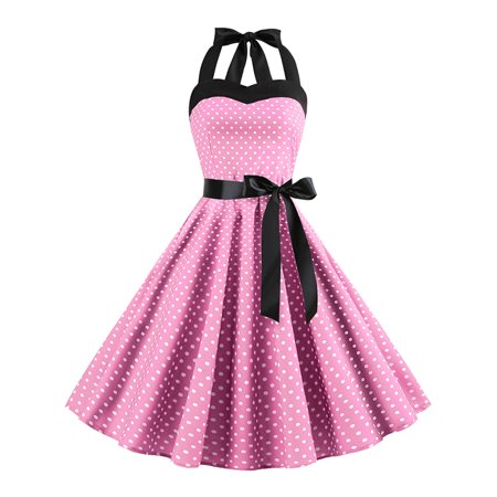 Dotted Halter Dress - Women Vintage Pinup Polka Dot Halter Evening Party Belt Bows Lace Up Swing Dress