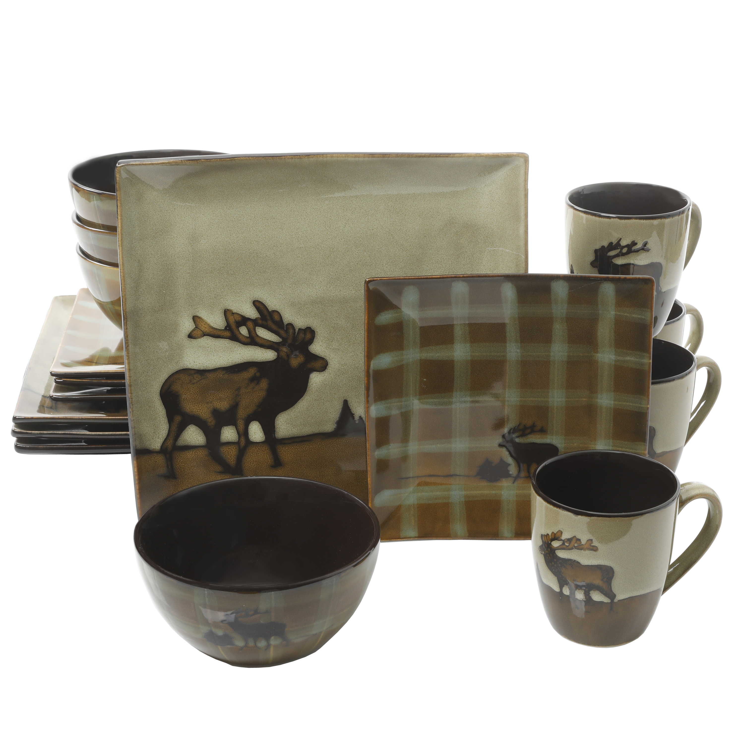 Better Homes & Gardens Roaming Elk 16-Piece Square Dinnerware Set ...