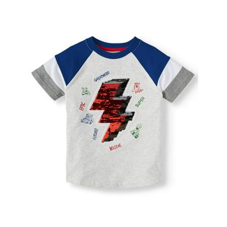 365 Kids from Garanimals Graphic Short Sleeve Lightening Bolt Sequin T-shirt (Little Boys & Big Boys)
