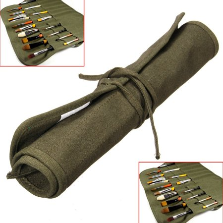 Roll Up Travel Canvas Oil Paint Brush Pencil Storage Organizer Bag For Watercolor Draw Pen Case Holder