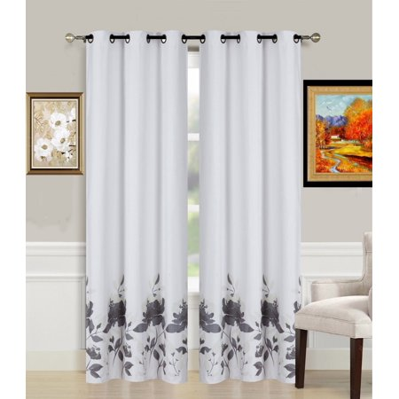 1-Piece FLOWER SILVER Printed Lined Blackout Grommet Window Curtain Treatment, One (1) Floral Pattern Room Darkening Panel 37