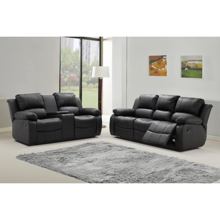 Zoey 2 pc Black Bonded Leather Living Room Reclining Sofa with Tea Table  and Loveseat set with Console