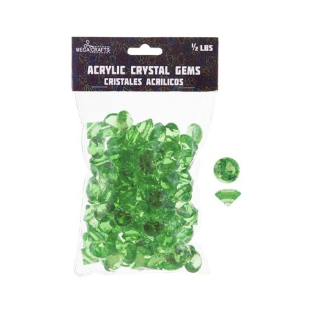 Mega Crafts - 1/2 lb Acrylic Small Diamonds Green | Plastic Glass Gems For Arts And Crafts, Vase Fillers And Table Scatters, Decoration Stones, Shiny Pebbles - Plastic Diamonds