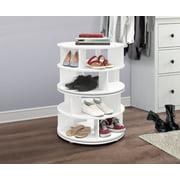 Furinno Revolving 4 Tier Shoe Storage Rack Carousel Organizer, White Wood, Contemporary