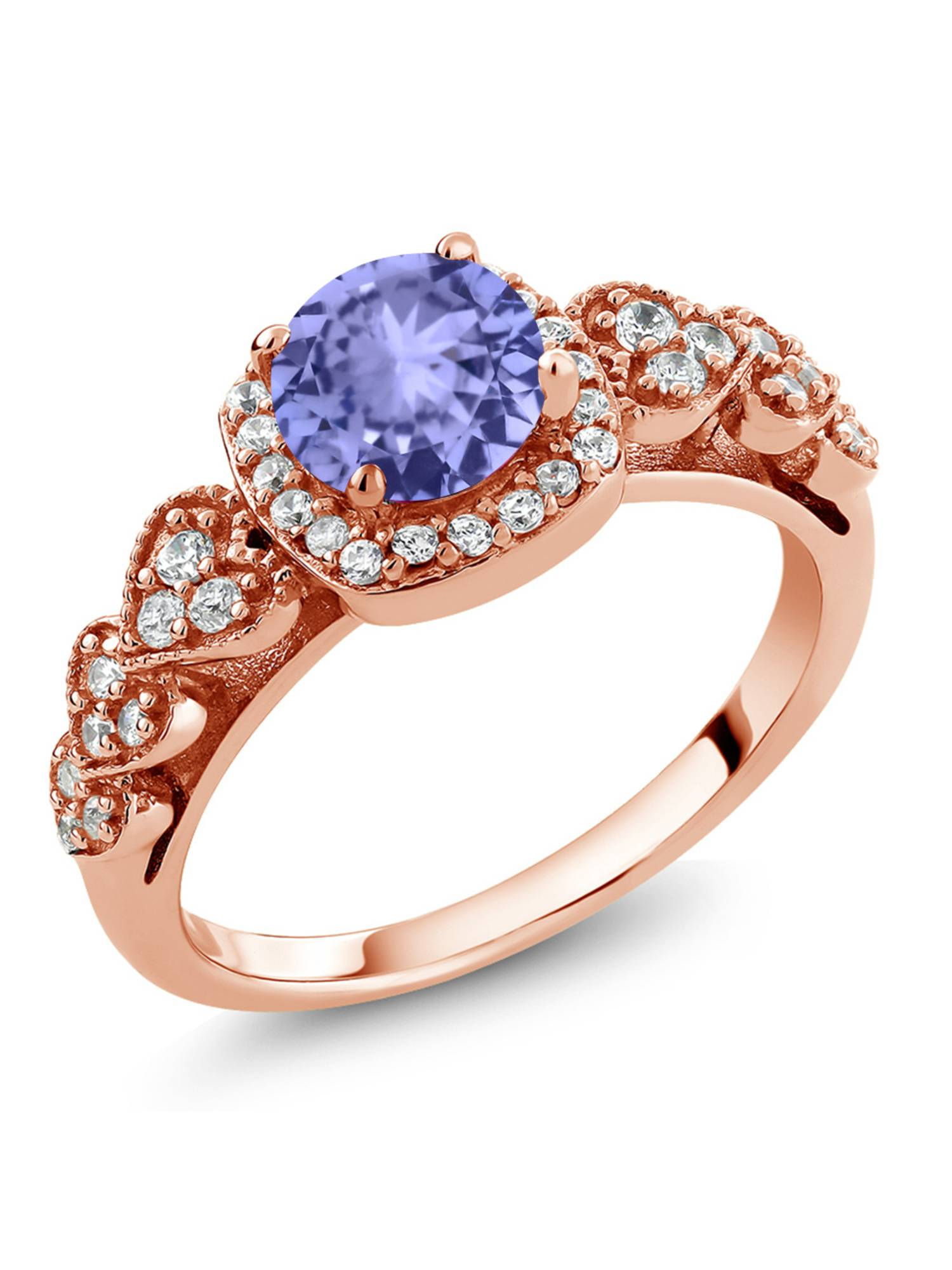 1.22 Ct Round Blue Tanzanite 18K Rose Gold Plated Silver Ring by