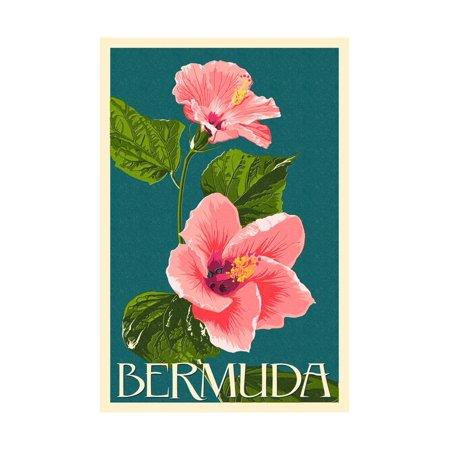 Pink Hibiscus Print (Bermuda - Pink Hibiscus Print Wall Art By Lantern Press )