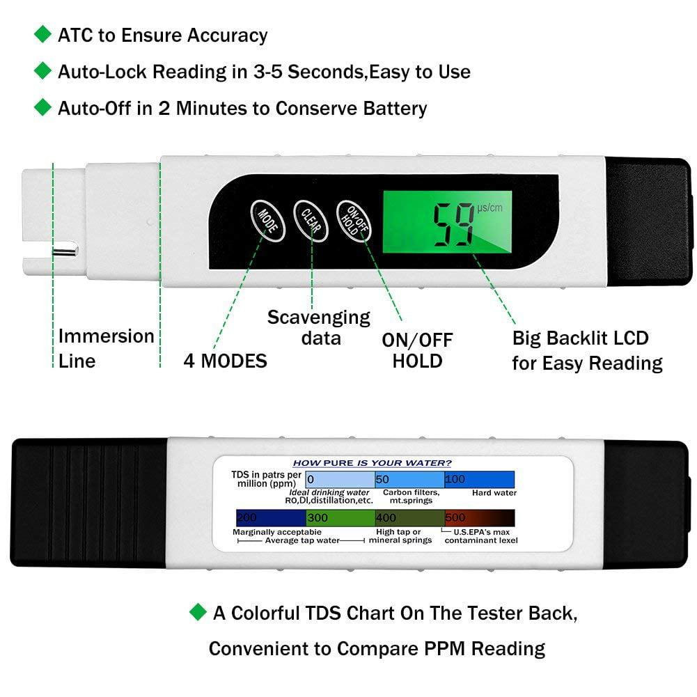 Ehm Tds Meter Water Quality Tester Tds Ec Temperature Meter 3