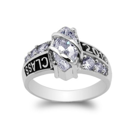 White Gold Plated Class of 2019 1.25ct Marquise CZ School Graduation Ring Size 4-10