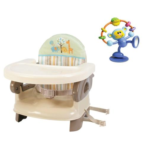 Summer Infant Deluxe Comfort Folding Booster Seat with High Chair Toy, Neutral