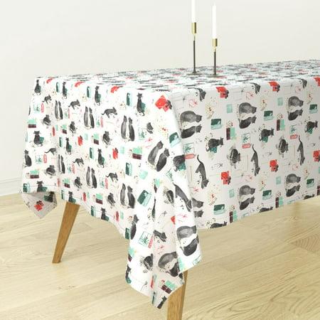 Holiday Tablecloth - Tablecloth Holiday Holiday Cats Christmas Presents Black Holiday Cotton Sateen