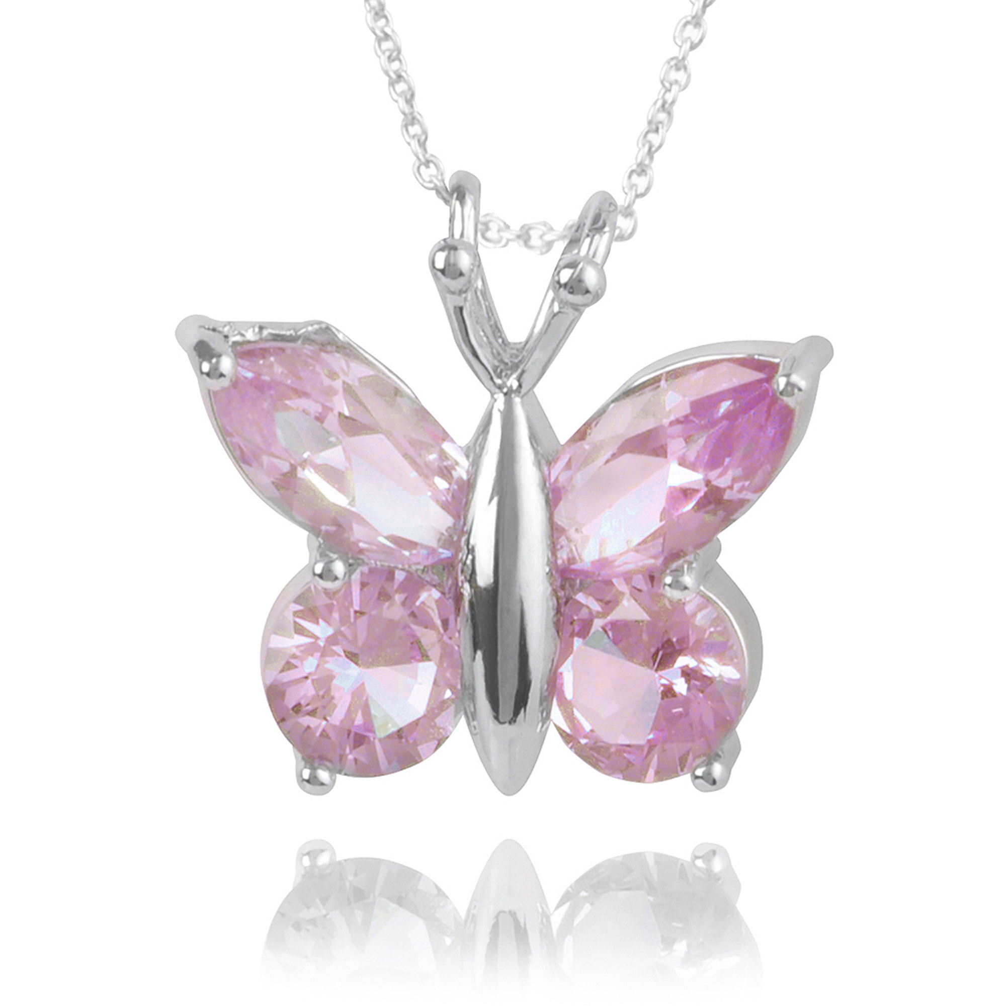 Brinley Co. Women's CZ Sterling Silver Butterfly Pendant Fashion Necklace, Pink, 18""
