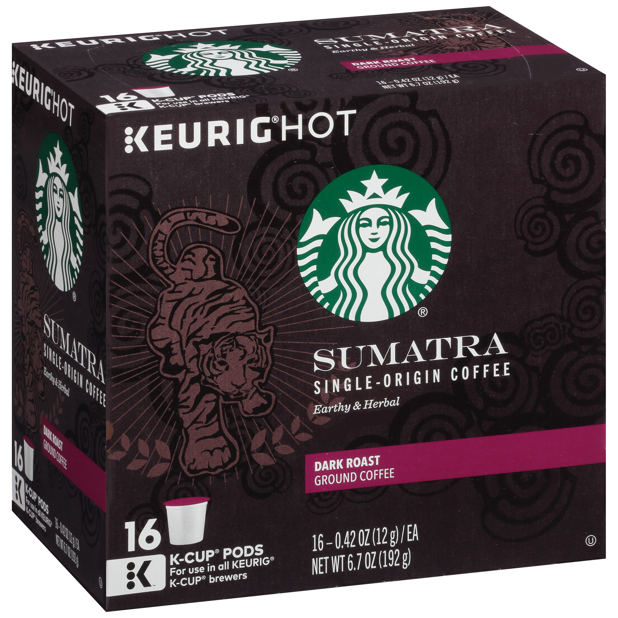 Keurig Hot Starbucks Sumatra Dark Roast Ground Coffee, 0.42 oz, 16 count