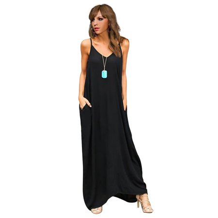 Women Hippie Boho Summer Sleeveless Loose Long Maxi Casual Party Strappy Dress Baggy V-neck Beach Sundress+Two Pockets