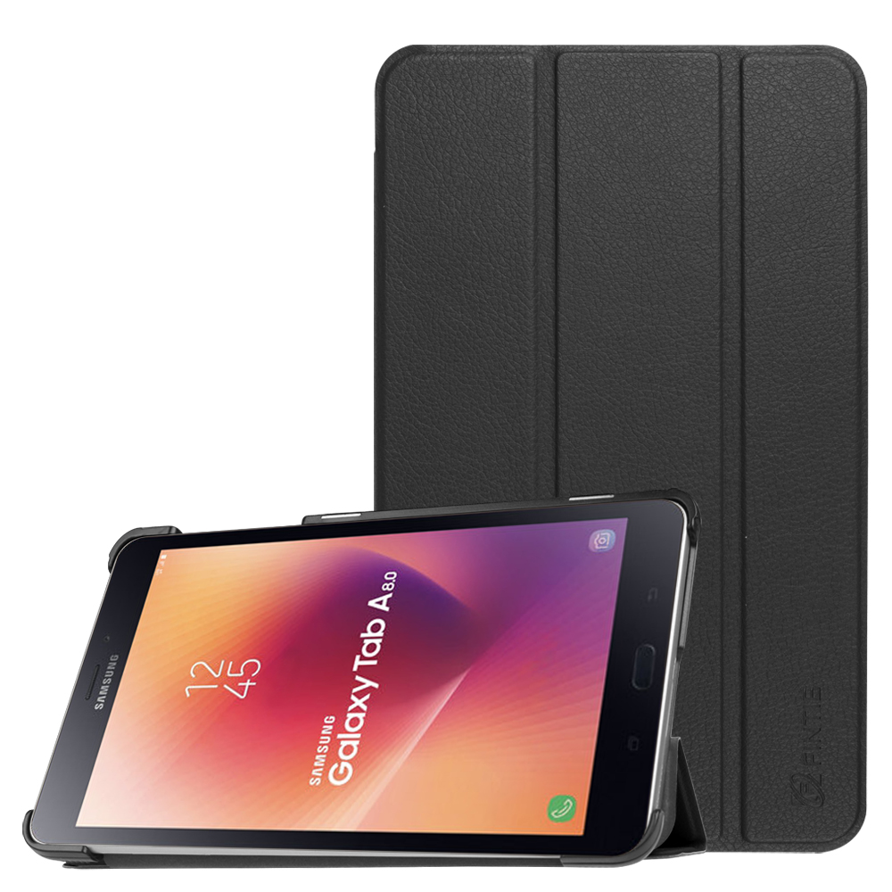 For Samsung Galaxy Tab A 8.0 2017 Case, Slim Leather Stand Cover Auto Sleep / Wake SM-T380 / T385, Black