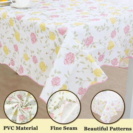 Home Picnic Rose Pattern Water Resistant Tablecloth Table