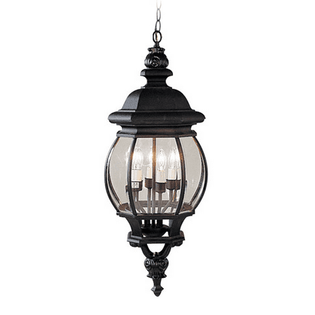Outdoor Pendants 4 Light With Clear Beveled Glass Black size 10 in 240 Watts - World of Crystal Chrome Beveled 4 Light