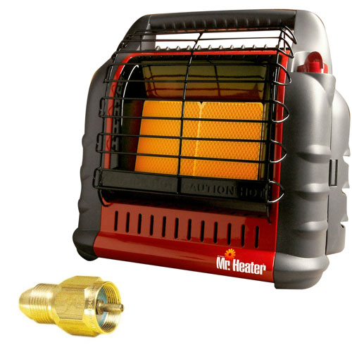 "Mr. Heater MH18B California Approved ""BIG Buddy"" Indoor Safe Propane Heater + Propane One Pound Tank Refill Adapter"