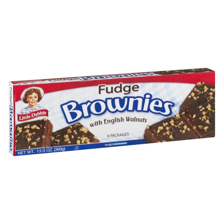 Little Debbie Fudge Brownies with English Walnuts (6 count) 13 oz Box - Pack of 4 Maple Walnut Fudge