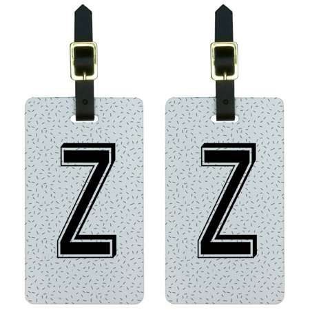 Letter Z Initial Sprinkles Black White Luggage Tags Suitcase ID, Set of