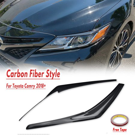 CARBON FIBER COLOR HEADLIGHT EYELID COVER EYEBROWS FOR 2018-2019 TOYOTA CAMRY Carbon Headlight Covers