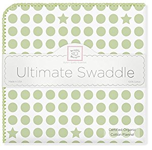 SwaddleDesigns Organic Ultimate Receiving Blanket, Dots and Stars, Kiwi by SwaddleDesigns