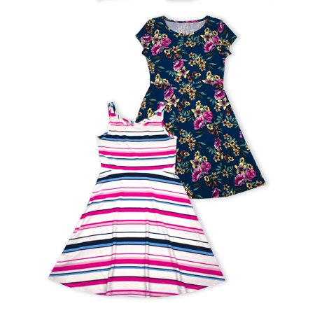 Tropical Floral and Stripe Dresses, 2-Pack (Little Girls & Big Girls) (Fancy Dress For Little Girl)
