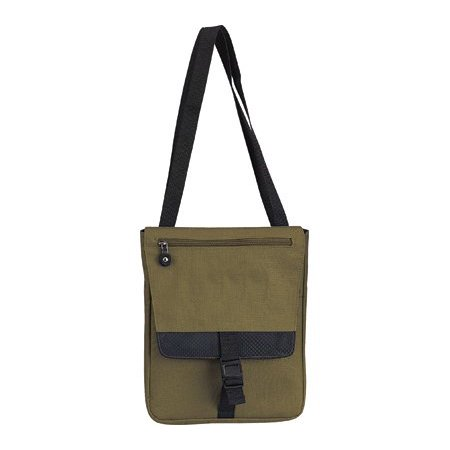 """9"""" Messenger Bag with 1 Zippered Pocket [Set of 2] Color: Olive green, Dimensions: 9"""" x 11.5"""" x 1.25"""" By Goodhope"""