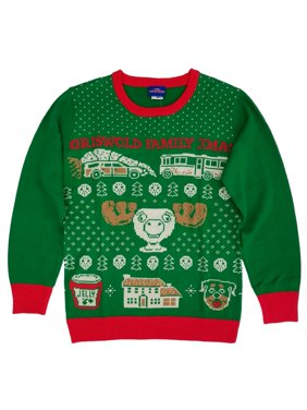 National Lampoons Christmas Vacation Mens Green Griswold Family Xmas Sweater