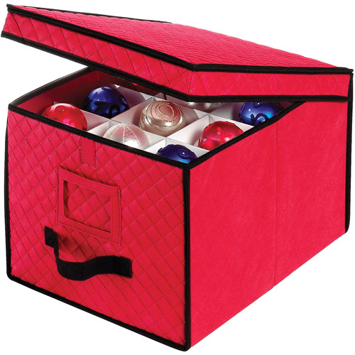 Whitmor Christmas Ornament Box, Red