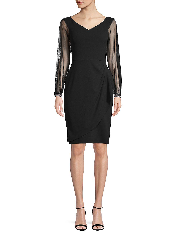Illusion-Trimmed Sheath Dress
