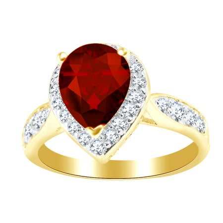 2.05 Ct Red Simulated Garnet & White Cubic Zirconia Solitaire Engagement Ring in 14k Yellow Gold Over Sterling Silver Ring Size - 4