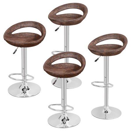 Zeny Set Of 4 Rattan Wicker Bar Stool Modern Adjustable Pub Swivel Barstool