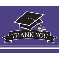 "Club Pack of 75 Purple and Black ""Thank You"" Decorative School Spirit Notes 9.25"""