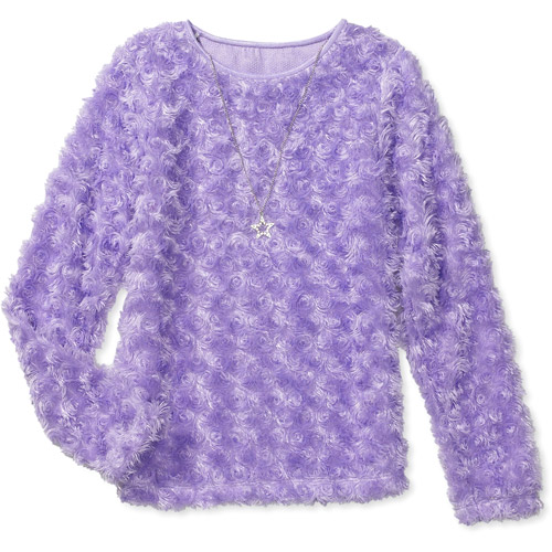 Faded Glory - Girls' Fuzzy Sweater with Jeweled Necklace